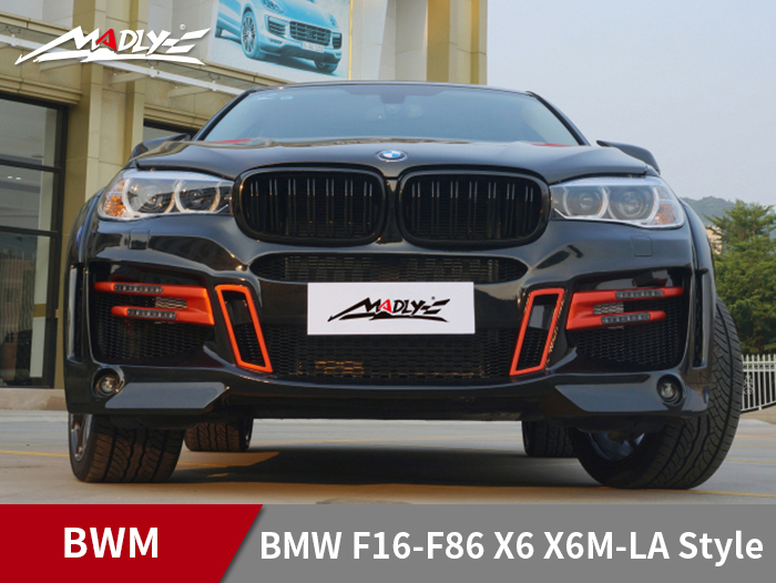 2015-2017 BMW F16-F86 X6 X6M-LA Style Wide body kits With Middle Four Hole Exhaust Tips Front bumper