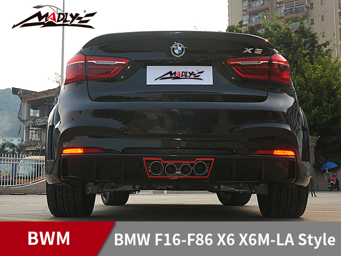 2015-2017 BMW F16-F86 X6 X6M-LA Style Wide body kits With Middle Four Hole Exhaust Tips Rear bumper