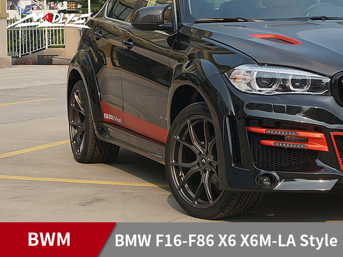 2015-2017 BMW F16-F86 X6 X6M-LA Style Wide body kits With Middle Four Hole Exhaust Tips Fender flares