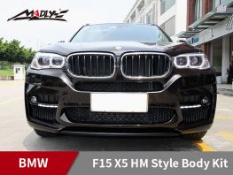2014-2016 BMW F15 X5 HM Style With Double Two Hole Exhaust Tips Front Bumper