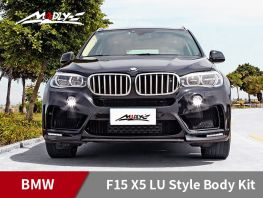 2014-2016 BMW F15 X5 / X5M LU style With Double Two Hole Exhaust Tips Front Bumper