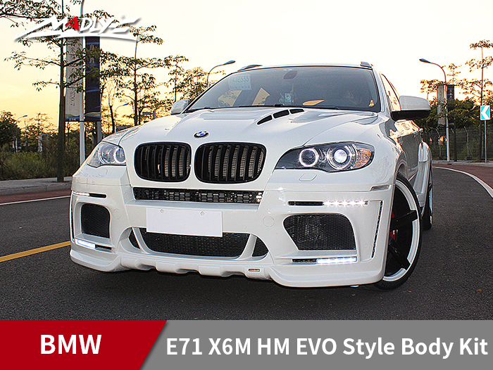 2008-2014 BMW E71 X6/X6M HM EVO-M style body kit With Middle Flat Exhaust Tips Front Bumper