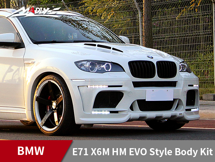 2008-2014 BMW E71 X6/X6M HM EVO-M style body kit With Middle Flat Exhaust Tips Front Fenders