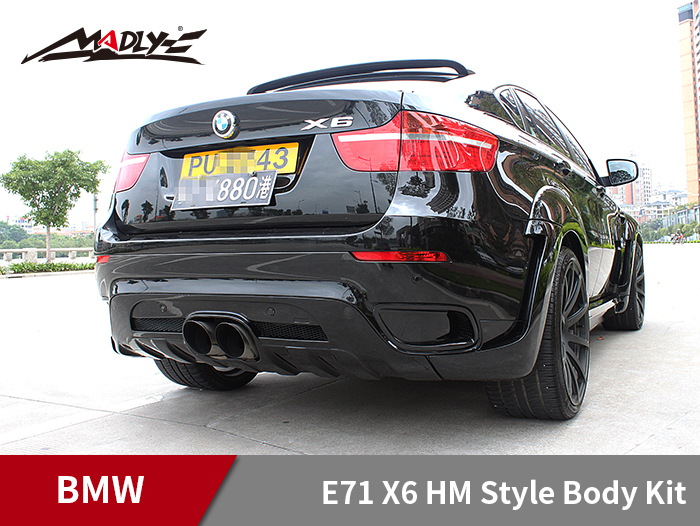 2008-2014 BMW E71 X6 HM Style Body Kits With Middle Round Exhaust Tips Rear Lip