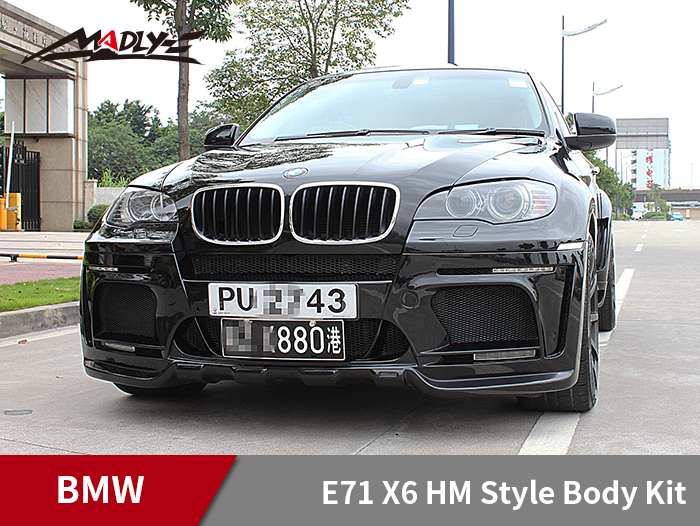 2008-2014 BMW E71 X6 HM Style Body Kits With Middle Round Exhaust Tips Front Bumper
