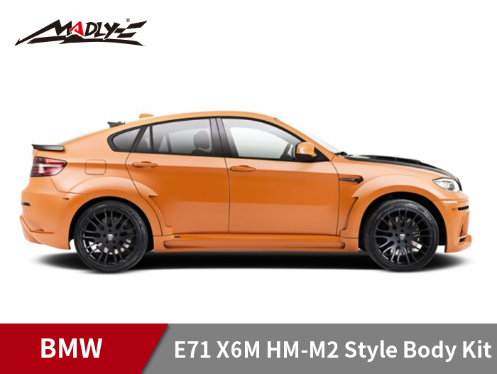2008-2014 BMW E71 X6M HM-M2 Style Body Kits With Middle Square Exhaust Tips Side SKirks