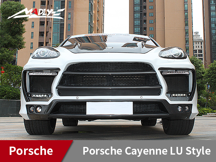 ​2011-2014 Porsche Cayenne LU Style Wide Body Kits With Middle Three Hole Exhaust Tips Front Bumper