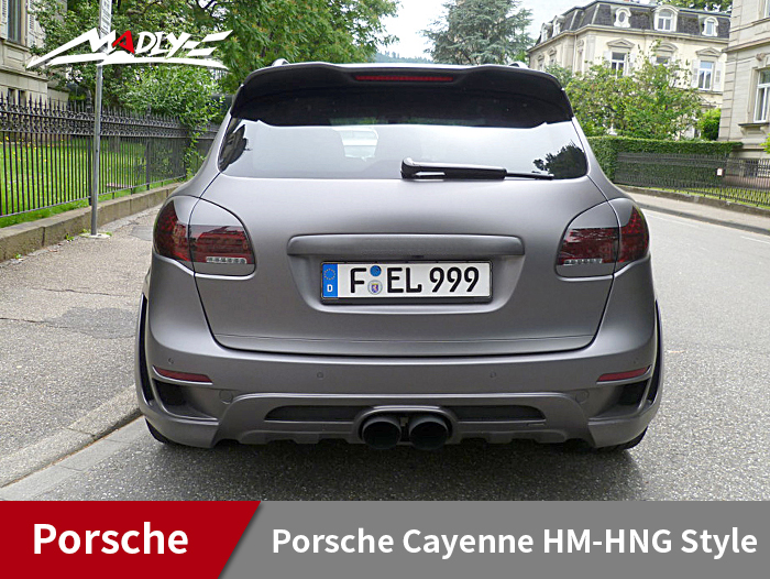 2011-2014 Porsche Cayenne HM-HNG Style Rear Bumper With Middle Round Exhaust Tips