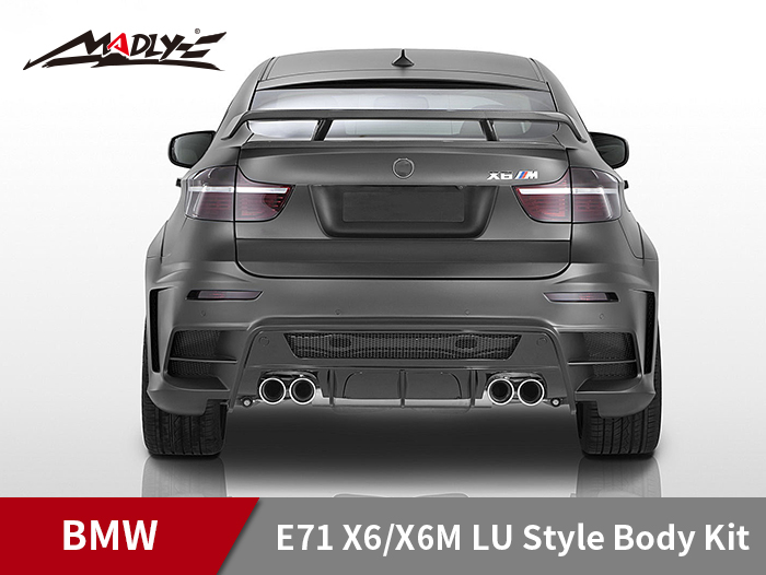 2008-2014 BMW E71 X6/X6M LU Style Body Kits With Double Two Hole Exhaust Tips Rear Bumper