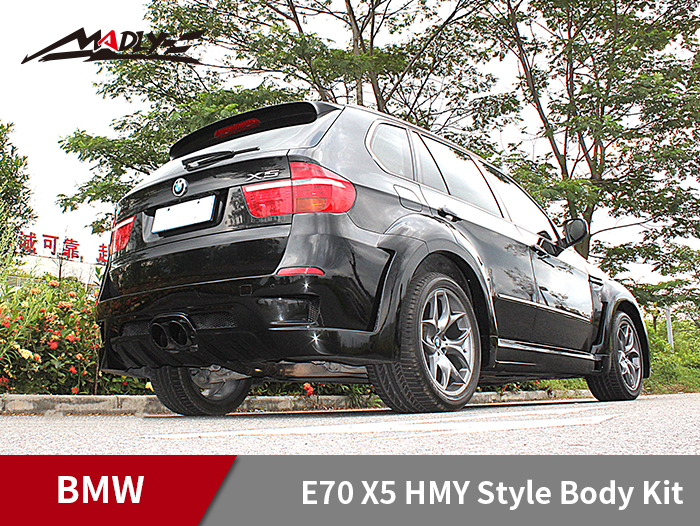 2011-2013 BMW X5 E70 HMY Style Wide Body Kits With Middle Round Exhaust Tips Rear Bumper